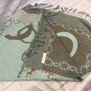 Pashmina scarf teal grey